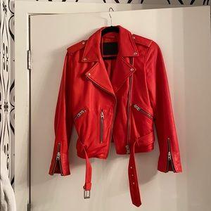 Allsaints Red Balfern Biker Leather Jacket, Size 8